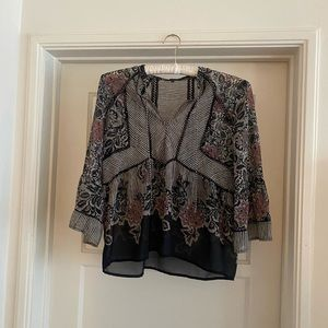 Lucky Brand paisley and striped peasant top